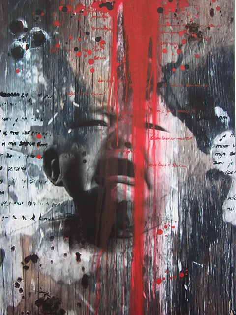 Sunil Puljhun, 'A Cry 1', digital, printed on canvas, worked on with acrylic paint, created in the context of Glo' Art, 2014 / Photo Courtesy Sunil Puljhun