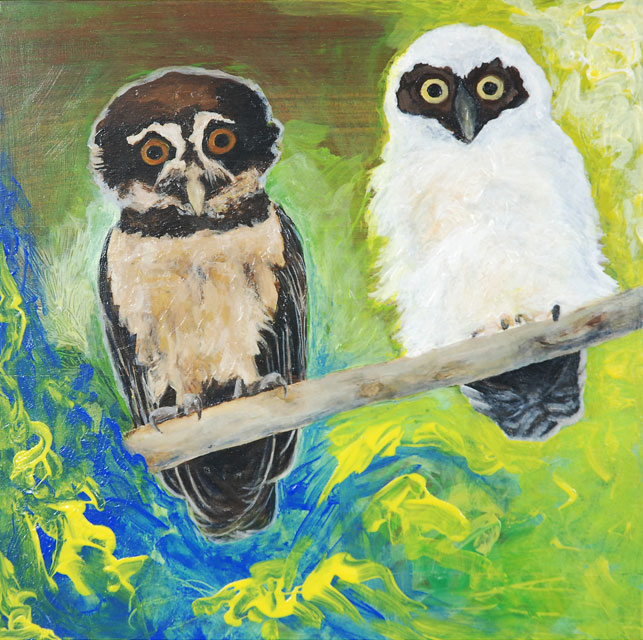 Kit-Ling Tjon Pian Gi, 'Krabu Owrukuku - A pa nanga a boi' [Owls - The father and the son], acryl on wood, 30 cm wide x 30 cm high, 2014 - USD 275 / PHOTO Readytex Art Gallery/William Tsang