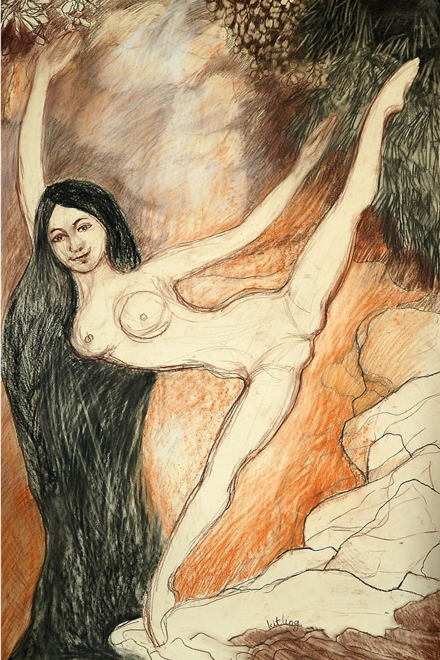Kit-Ling Tjon Pian Gi, 'Woman Artist 3', conte on paper, 70 cm wide x 100 cm high, year unknown - USD 550 / PHOTO Readytex Art Gallery/William Tsang