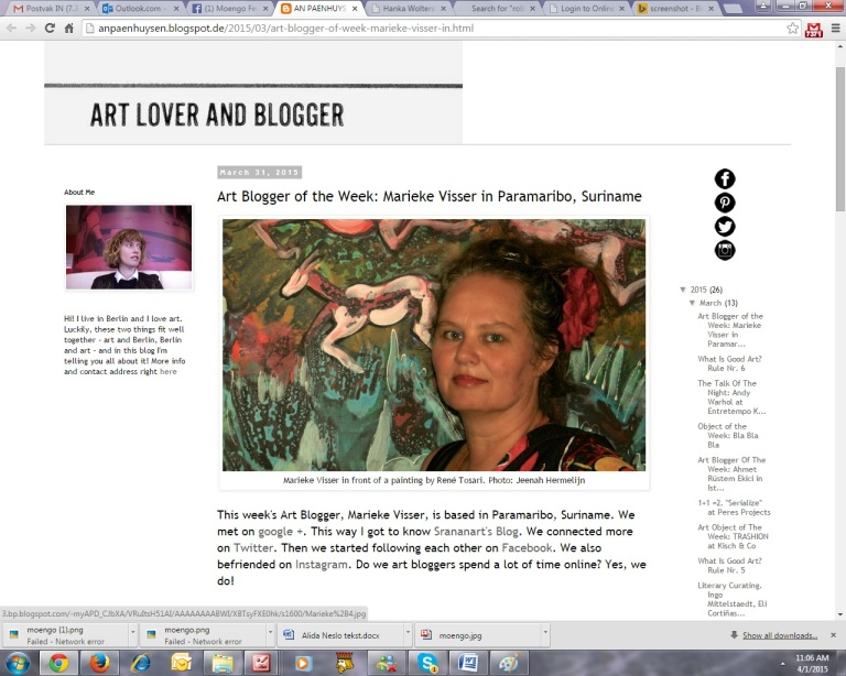 A screenshot from the art blog by An Paenhuysen