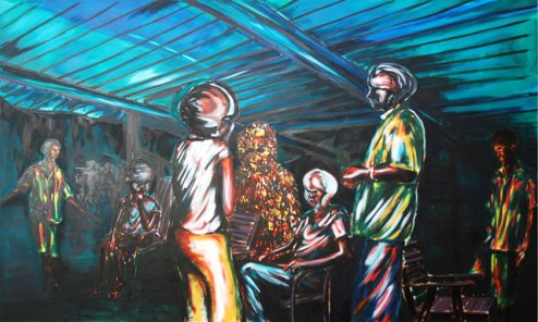 Dhiradj Ramsamoedj, 'De familiegeesten' [The family spirits], oil on canvas, 250 cm wide x 150 cm high, 2010, USD 1200 / PHOTO Readytex Art Gallery/William Tsang