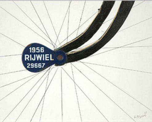 Kenneth Flijders, 'Rijwiel' [Bicycle]. mixed media on paper, 35x28cm, 2009 - USD 200 / PHOTO Readytex Art Gallery/William Tsang
