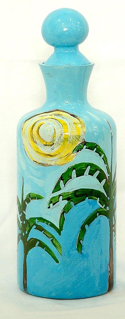 Reinier Asmoredjo, painted bottle, acrylic on glass, 2006 – USD 100 / PHOTO Readytex Art Gallery/William Tsang