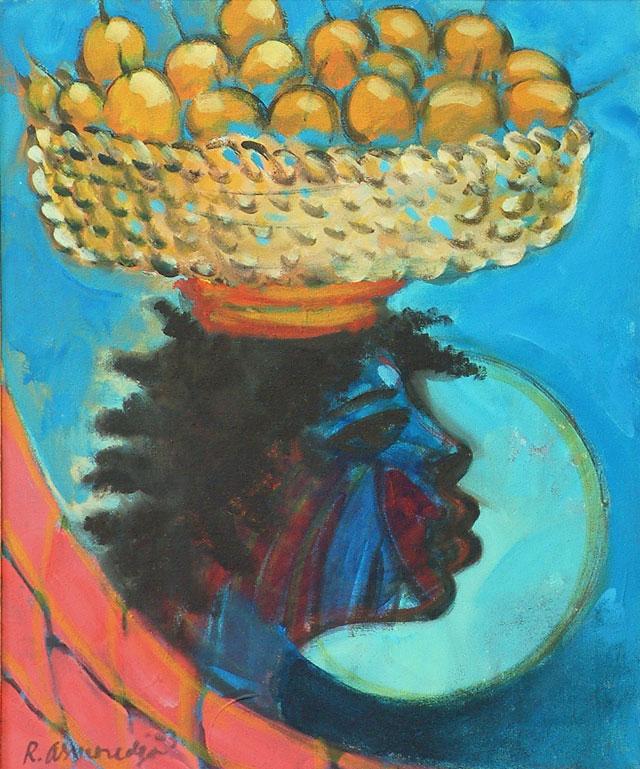 Reinier Asmoredjo, 'Markusa uma', acrylic on canvas, 47 cm wide x 59 cm high, 2014 – USD 400 / PHOTO Readytex Art Gallery/William Tsang