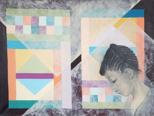 Kit-Ling Tjon Pian Gi, 'Marronmeisje' [Marroon girl], acrylics on canvas, 80 cm wide x 60 cm high, year unknown - USD 700 / PHOTO Readytex Art Gallery/William Tsang
