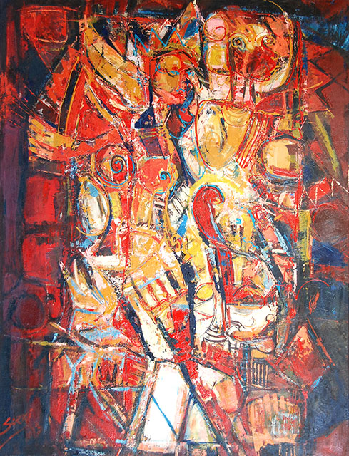 Soeki Irodikromo, 'Coming together', acrylics on canvas, 71 cm wide x 93.5 cm high, 2013 - USD 1800 / PHOTO Readytex Art Gallery/William Tsang