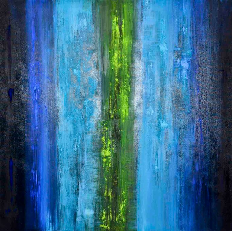 streams-of-color-or-mystical-blue-100x100cm-mixed-media-on-canvas-2014