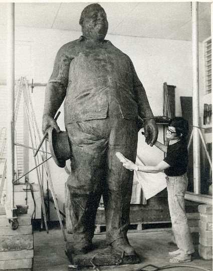 SRdM Stuart Robles de Medina finishing the statue of Pengel, 1974