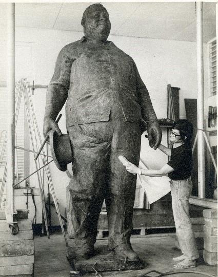 SRdM Stuart Robles de Medina finishing the statue of Pengel, 1974